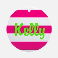 Personalized Pink and Green Ornament (Round)