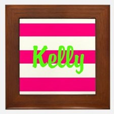 Personalized Pink and Green Framed Tile