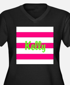 Personalized Pink and Green Women's Plus Size V-Ne