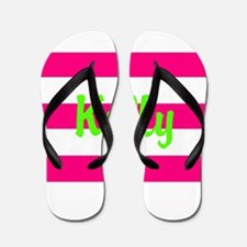 Personalized Pink and Green Flip Flops