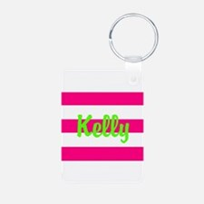 Personalized Pink and Green Keychains
