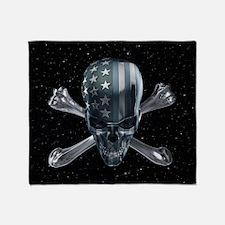 Spacey American Skull Throw Blanket