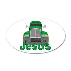 Trucker Jesus 38.5 x 24.5 Oval Wall Peel