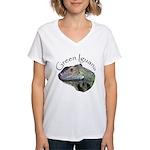 Green Iguana Women's V-Neck T-Shirt