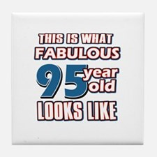 Cool 95 year old birthday designs Tile Coaster