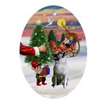 Santa's Treat for his Elkhound Oval Ornament