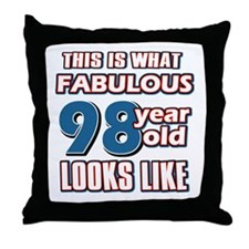 Cool 98 year old birthday designs Throw Pillow