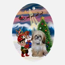 Santa's Take-off & Shih Tzu Oval Ornament