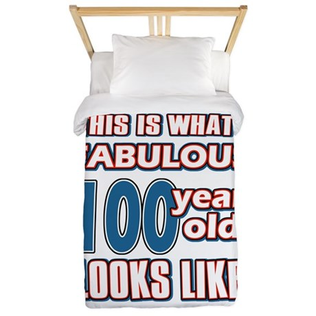 Cool 100 year old birthday designs Twin Duvet