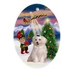 Santa's Take-off & Maltese Oval Ornament