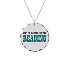 I'd Rather be Reading Necklace Circle Charm