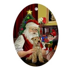 Santa's Lakeland Terrier Oval Ornament