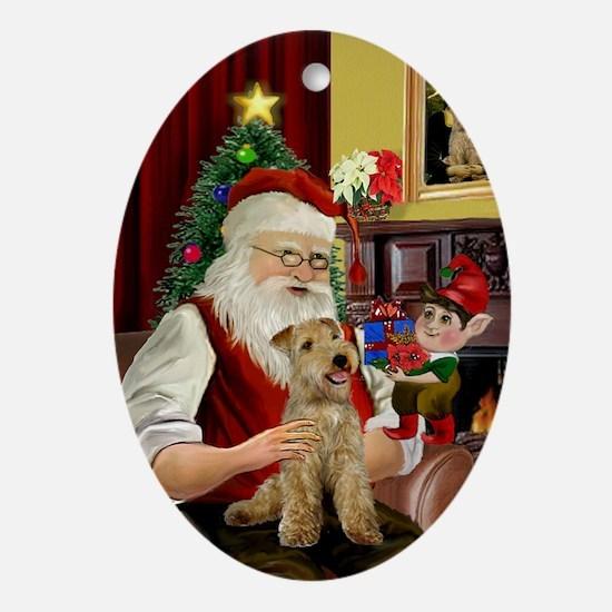 Santa's Lakeland Terrier Oval Ornament