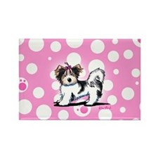 Biewer Yorkie on Pink Rectangle Magnet