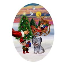 Santa's Treat for his Skye Terrier Oval Ornament