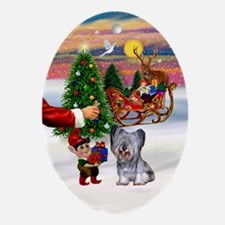 Santa's Treat for his Skye Terrier Oval Ornament