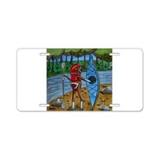 Kayak Sock Monkey Aluminum License Plate