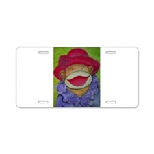 Red Hat Sock Monkey Aluminum License Plate