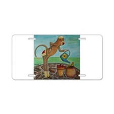 Garden Sock Monkey Aluminum License Plate