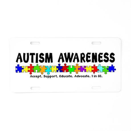 Aut Aware (Puzzle row) Aluminum License Plate