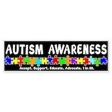 Aut Aware (Puzzle row) Dk Bumper Bumper Sticker