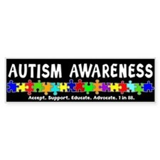 Aut Aware (Puzzle row) Dk Bumper Sticker
