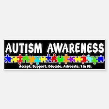 Aut Aware (Puzzle row) Dk Bumper Stickers