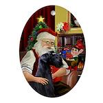 Santa's Giant Schnauzer Oval Ornament