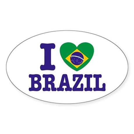 I Love Brazil Oval Sticker