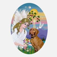 Angel with bouquet & Vizsla Oval Ornament