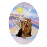 Yorkie Angel in Heaven Oval Ornament