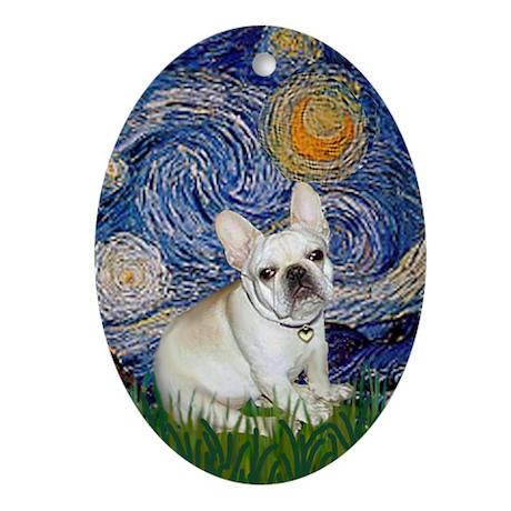Starry Night French Bulldog Oval Ornament