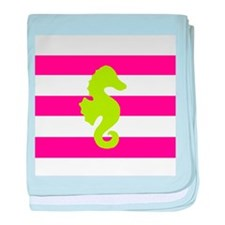 Green Seahorse Pink Stripes baby blanket