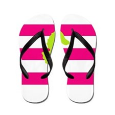 Green Seahorse Pink Stripes Flip Flops