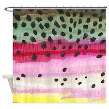 Rainbow Trout Skin Fishing Shower Curtain