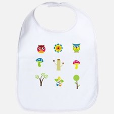 Cute Colorful Owls and Nature Bib