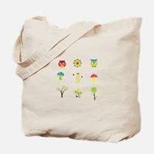 Cute Colorful Owls and Nature Tote Bag