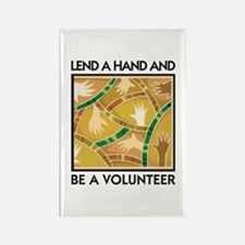 Lend a Hand and Be a Volunteer Rectangle Magnet