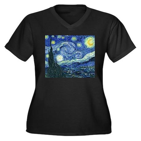 Van Gogh Starry Night Women's Plus Size V-Neck Dar