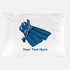 Diving Snorkel etc. And Text. Pillow Case