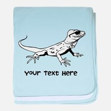 Lizard and Custom Text baby blanket