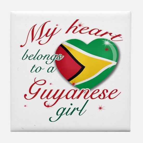 Guyanese Valentine's designs Tile Coaster