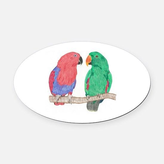Cute Parrots Oval Car Magnet
