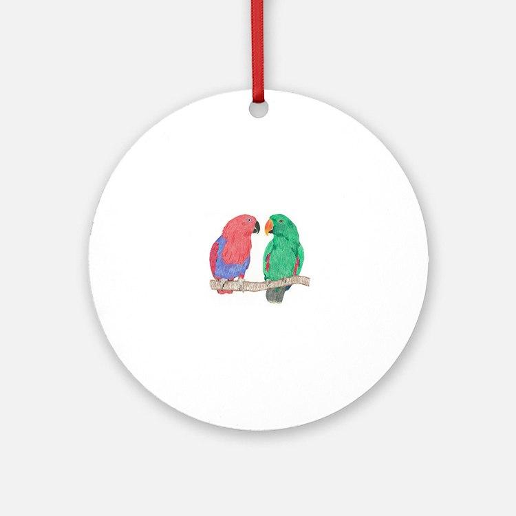Cute Parrots Round Ornament