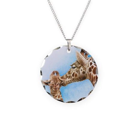 Giraffe & Calf Necklace Circle Charm