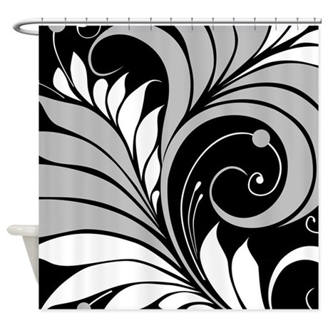 Gray White Black Floral Shower Curtain By Bestshowercurtains