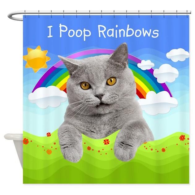 I Poop Rainbows Cat Shower Curtain By BestShowerCurtains