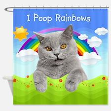 I Poop Rainbows Cat Shower Curtain