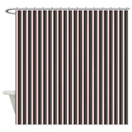 Black And Pink Stripes Shower Curtain By BestShowerCurtains