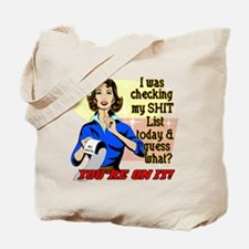 My @#$% List Retro 50's Humor Tote Bag